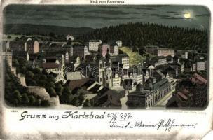 1899 Karlovy Vary, Karlsbad; night. Carl Garte litho (EM)