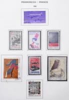 Franciaország 1980-1989 gyűjtemény fénymásolt Schaubek albumlapokon, rózsaszín gyűrűs dossziéban