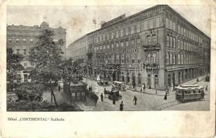 Budapest V. Hotel Continental szálloda, villamos, automobil (EK)