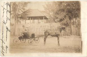 1915 Hatvan, lovasszekér katonával pavilon előtt, photo