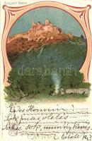 Szigliget, Várrom, kiadja Bruchsteiner és fia, Brázay-féle sósborszesz reklámjával. Art Nouveau litho