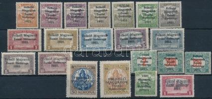 Nyugat-Magyarország V. 1921 Teljes sor, közte 2 db tévnyomat és 3 db bélyeg 3-as lyukasztással, garancia nélkül