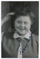 Fónay Márta (1914-1994) színésznő aláírása őt ábrázoló fotón, illetve hátlapján üdvözlő sorokkal