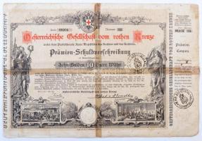 Ausztria / Bécs 1882. Ausztriai Vöröskereszt kötvénye 10G, szárazpecséttel, MAGYAR KIRÁLYI ADÓHIVATAL SZOMBATHELYEN bélyegzéssel T:III-,IV ragasztott Austria / Wien 1882. Österreichische Gesellschaft vom rothen Kreuze bond about 10 Gulden, with embossed stamp and MAGYAR KIRÁLYI ADÓHIVATAL SZOMBATHELYEN (Royal Hungarian Tax Office in Szombathely) cancellation C:VG,G glued