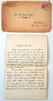 1906 Simonyi Zsigmond (1853-1919) nyelvtudós, egyetemi tanár, a Magyar Tudományos Akadémia tagja saját kézzel írt levele Vértes O. József pszichológusnak, melyben nyelvészeti munkákra hívja fel a figyelmét.