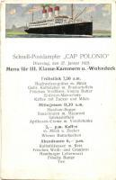 Schnell-Postdampfer Cap Polonio, Menüfür III. Klasse-Kammern u. Wohndeck