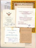 23db-os okmány tétel, főként adományozói levelek és igazolványok, amelyből 14db fénymásolt irat. Az eredetiek között: 1938. Vitézek Albumának Szerkesztő Bizottsága levele a Vitézek Albumának összeállításáról és megrendelési lehetőségeiről ; illetve 1940. Zrínyi szelleme él! ajándékozott emlékveretet kísérő oklevél T:II-III