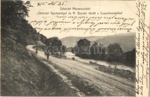Máramaros, Útrészlet Gyertyánliget és Nagybocskó között a Szupurka patakkal. Csermák M. amateur felvétele / road with river