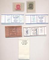 18db-os vegyes numizmatikai kellék tétel; piros és barna MNB bélyegek a pengő korszakból, valamint 5db használt pénzkötegelő szalag pecsételve, szignóval (pengő, euró, líra) T:II-III