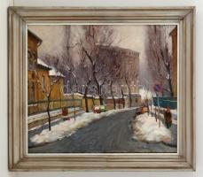 Pázmán József (1910-1991): Utca részlet. Olaj, vászon, jelzett, keretben, 50×60 cm