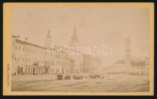 cca 1870-1880 Besztercebánya, Főtér, keményhátú fotó Karl Kinszky műterméből, 10,5x6,5 cm / Karl Kinszky: Banska Bystrica, vintage photo, 10,5x6,5 cm