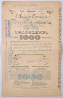 Budapest 1904. Magyar Országos Központi Takarékpénztár záloglevele 1.000K-ról szelvényekkel, bélyegzésekkel, lyukasztással érvénytelenítve T:III
