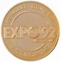 Lebó Ferenc (1960-) 1992. Expo 92 Sevilla - Magyarország / Európában, Európáért aranyozott Br emlékérem (42,5mm) T:1-(PP) ujjlenyomat