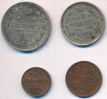 Orosz Birodalom 1910. 1/4k Cu + 1912. 1/2k Cu + 20k Ag + 1915. 15k Ag T:2 Russian Empire 1910. 1/4 Kopek Cu + 1912. 1/2 Kopek Cu + 20 Kopeks Ag + 1915. 15 Kopeks Ag C:XF