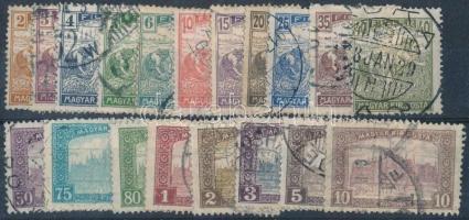 1916 Arató-Parlament sor + 9 db Elektrotip bélyeg (6 klf) 2 db kis stecklapon