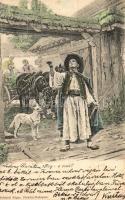 13 db RÉGI magyar folklór lap, vegyes minőség / 13 old Hungarian folklore motive cards, mixed quality