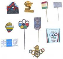 10db klf olimpiai tematikájú jelvény és kitűző, közte Sofia 92, Sapporo - München 1972 T:2,2-