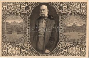 1848-1908 Ferenc József uralkodásának 60. évordulója, jubileumi díjjegyes lap / Franz Joseph, Viribus Unitis, 60th anniversary of reign, jubilee, Art Nouveau, 5f Ga.