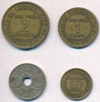 Franciaország 1922. 1Fr Al-Br + 1925. 2Fr Al-Br + 1927. 50c Al-Br + 1935. 10c Cu-Ni T:2 France 1922. 1 Franc Al-Br + 1925. 2 Francs Al-Br + 1927. 50 Centimes Al-Br + 1935. 10 Centimes Cu-Ni C:XF
