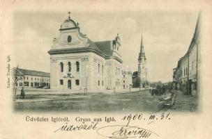Igló, Iglau, Spisská Nová Ves; utcakép, Evangélikus és katolikus templom. kiadja Szútor Tivadar / street view, churches