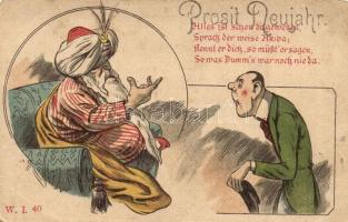 12 db RÉGI üdvözlőlap, vegyes minőség / 12 pre-1945 greeting postcards, mixed quality