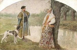 The meeting / Russian art postcard, T.S.N. R.M. No. 176. s: S. Solomko