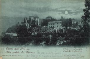 1899 Fiume, Tersatto Castle at night, Edgar Schmidt (kis szakadás / small tear)