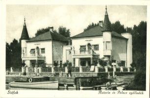 Siófok, Astoria és Palace szállodák, csónakok