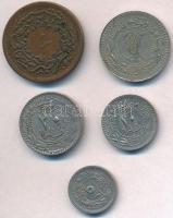 Oszmán Birodalom 1839. (1255) 10p Cu + 1910. 20p Ni + 1911. 5p Ni + 40p Ni + 1915. 10p Ni T:2 Ottoman Empire 1839. (1255) 10 Para Cu + 1910. 20 Para Ni + 1911. 5 Para Ni + 40 Para Ni + 1915. 10 Para Ni C:XF