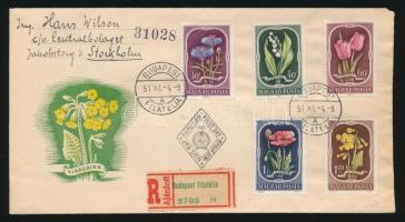 1951 Virág (II) sor ajánlott FDC Svédországba küldve