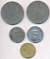 Német Birodalom 1897A 5pf Cu-Ni + Weimari Köztársaság 1924A 5pf Al-Br + NDK 1948. 5pf Al + NSZK 1958F 2M Cu-Ni + 1966D 2M Cu-Ni T:2 German Empire 1897A 5 Pfennig Cu-Ni + Weimar Republic 1924A 5 Pfennig Al-Br + GDR 1948. 5 Pfennig Al + FRG 1958F 2 Mark Cu-Ni + 1966D 2 Mark Cu-Ni C:XF