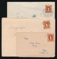 1946-1957 41 db küldemény, közte 15 db ajánlott, mind különböző bérmentesítéssel