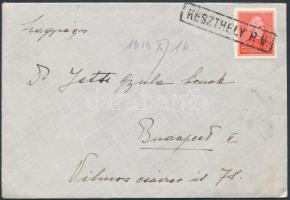 1934 Levél Arcképek 20f bérmentesítéssel KESZTHELY pályaudvari bélyegzéssel Budapestre küldve