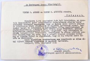 1956 Hamvas Endre csanádi püspök aláírt levele