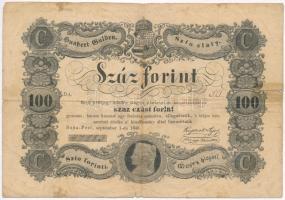 1848. 100Ft Kossuth bankó T:III- ly., szakadás, ragasztó Adamo G114
