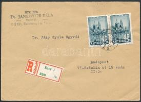 1950 Ajánlott levél 2 x 1Ft bérmentesítéssel EGER - Budapest