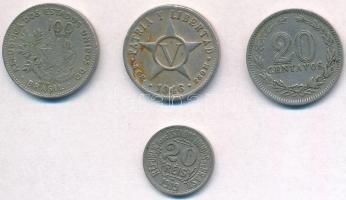 Vegyes: Argentína 1927. 20c Cu-Ni + Brazília 1901. 100r Cu-Ni + 1919. 20r Cu-Ni + Kuba 1946. 5c Cu-Ni T:2,2- Mixed: Argentina 1927. 20 Centavos Cu-Ni + Brazil 1901. 100 Reis Cu-Ni + 1919. 20 Reis Cu-Ni + Cuba 1946. 5 Centavos Cu-Ni C:XF,VF