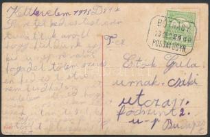 1913 Képeslap Turul 5f bérmentesítéssel BÓTRÁGY postaügynökségi bélyegzéssel Budapestre küldve
