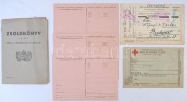 cca 1917 Kitöltetlen zsoldkönyv és hadifogoly levelezőlapok 5 db