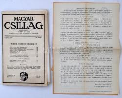 1940, 1942 A Magyar Csillag c. folyóirat egy száma, valamint a Nyugat előfizetési felhívásai