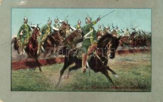 Jäger zu Pferde ein Hindernis nehmend / K.u.K. cavalry units taking an obstacle (EK)