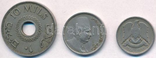 Vegyes: Egyiptom 1924. 5m Cu-Ni + Palesztina 1927. 10m Cu-Ni + Szíria 1948. 5p Cu-Ni T:2,2- Mixed: Egypt 1924. 5 Milliemes Cu-Ni + Palestine 1927. 10 Mils Cu-Ni + Syria 1948. 5 Piastres Cu-Ni C:XF,VF