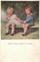 Welch Glück, geliebt zu werden / Children holding hands, artist signed, M. M. Nr. 1276 C (EK)