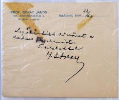 Bókay János (1822-1884) sebészorvos saját kezű aláírása és üdvözlő sorai
