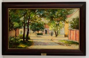 Oszter Dezső (1955-): Árnyas utca. Olaj, farost, jelzett, keretben, 40×70 cm