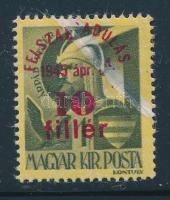 1945 Felszabadulás 10f/1f gyűrődés miatt hiányos sárga alapnyomat és felülnyomás