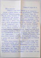 Peéry Rezső (1910-1977) író, publicista saját kézzel írt levele Vértes O. András nyelvésznek, melyben megköszöni a részére elküldött Értelmező Szótárt és nyelvészeti fejtegetésekbe kezd. Két beírt oldal.