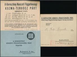 cca 1930 A Keresztény Nemzeti Függetlenségi Párt választási nyomtatványai