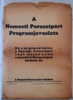 1947 A Nemzeti Parasztpárt programjavaslata, rossz állapotú nyomtatvány.