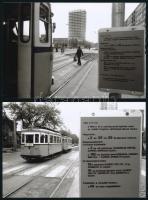 1982 Budapest, forgalmi változások a metró építése miatt a 3-as és 55-ös villamosok vonalán, 2 db utólagos nagyítás, 10x15 cm